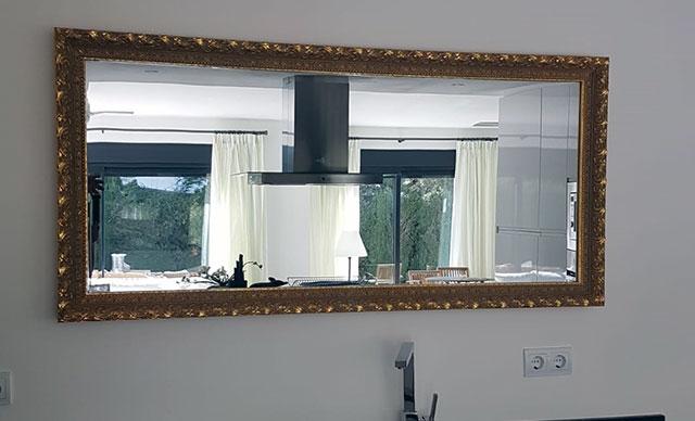 Spiegelheizung mit Massivholz-Rahmen 900 Watt